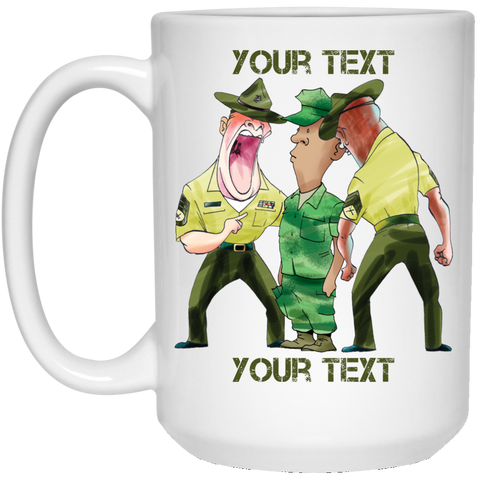 (STYLE 3) RECRUIT AND DRILL INSTRUCTORS FULLY PERSONALIZED LARGE 15 oz. White Mug