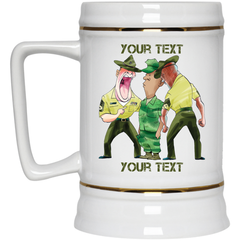 (STYLE 3) RECRUIT AND DRILL INSTRUCTORS FULLY PERSONALIZED Beer Stein 22oz.