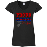 Proud Marine MAMA Gildan Ladies' Fitted Softstyle V-Neck T-Shirt