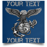 Fully Personalized Black Out Emblem USMC Poster