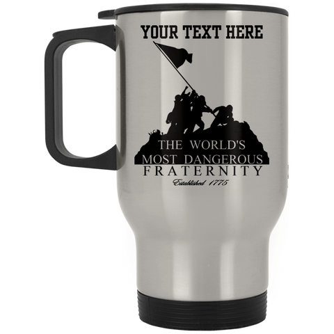 DANGEROUS FRATERNITY FULLY PERSONALIZED 14 oz Silver Stainless Travel Coffee Mug