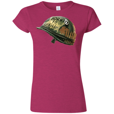Full Metal Jacket Born To Kill/Peace Button Helmet  Softstyle Ladies' T-Shirt