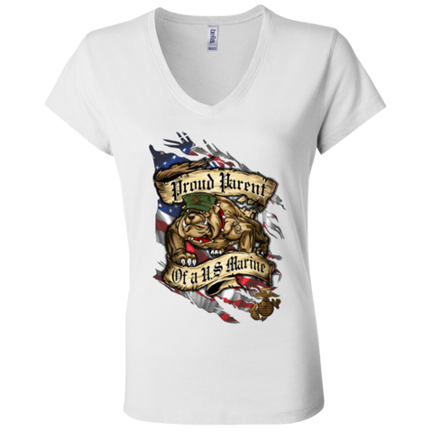 Proud Parent of a U.S. Marine Bulldog Ladies' V-Neck T-Shirt PREMIUM Ladies' V-Neck T-Shirt