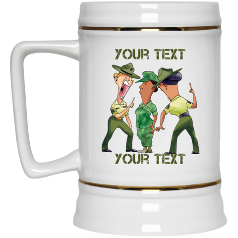(STYLE 5) FEMALE RECRUIT AND DRILL INSTRUCTORS FULLY PERSONALIZED  Beer Stein 22oz.