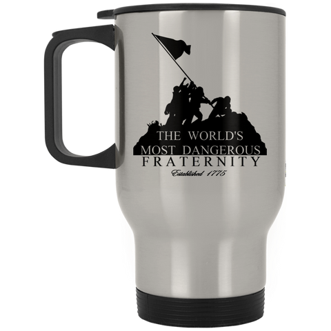 14 oz. Silver Stainless Travel Mug (Dangerous Fraternity)