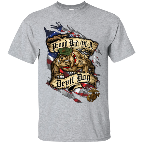 Proud Dad of a Devil Dog (DaD) Bulldog T-shirt