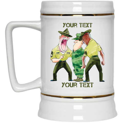 (STYLE 4) RECRUIT AND DRILL INSTRUCTORS FULLY PERSONALIZED  Beer Stein 22oz.