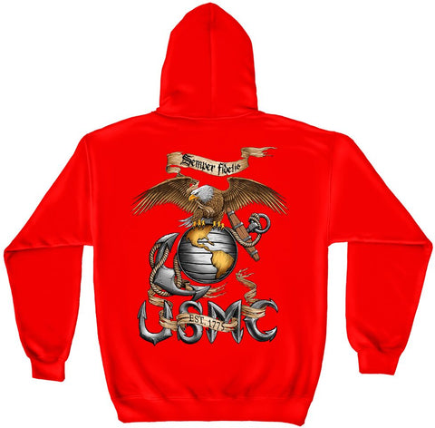 DYNAMIC EAGLE GLOBE AND ANCHOR  HOODIE (MM107RSW)
