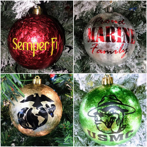 Set of 4:  Hand Decorated Large Shatterproof Christmas Ornaments