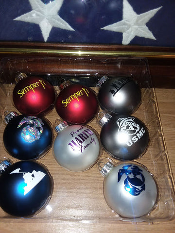 SET OF 8:  GORGEOUS HAND DECORATED GLASS CHRISTMAS ORNAMENTS