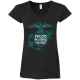 PROUD MARINE FAMILY - LIMITED EDITION (Black/Electric Tiffany Blue Ink)  LADIES' V-NECK & UNISEX CREW
