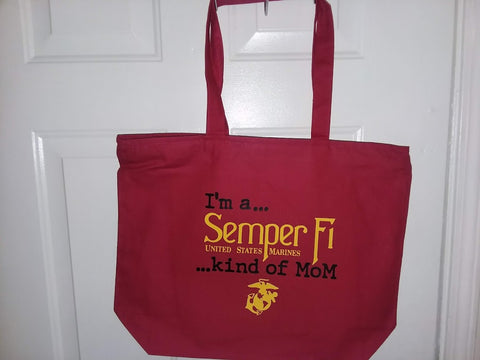 Semper Fi Kind of MoM / Grandma  PREMIUM  Zippered Tote Bag