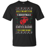 MARINE PARENT UGLY CHRISTMAS SWEATER STYLE SHORT SLEEVE T-SHIRT!
