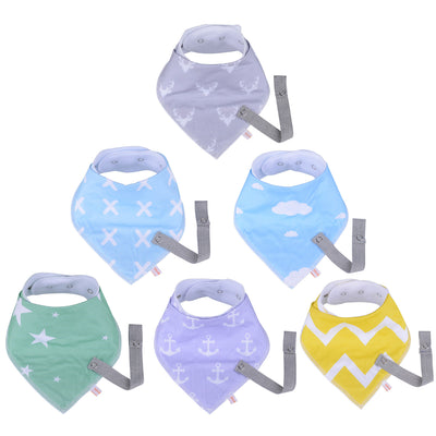 MADENAL Baby Bandana Drool Bibs and Pacifier Clip | 6 packs - MADENAL