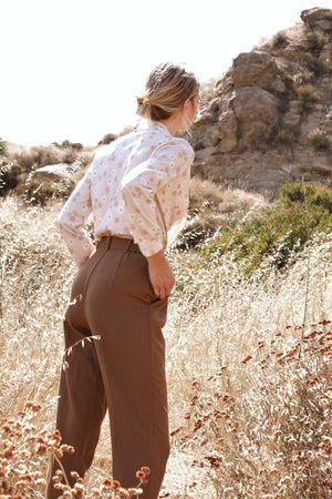 Vintage High Waisted Trousers in Brown - Bear Fox Babe