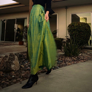 Vintage Full Length Skirt in Iridescent Lime Green