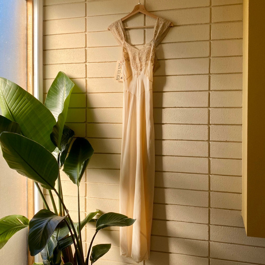 Vintage Antique Slip Dress in Ivory
