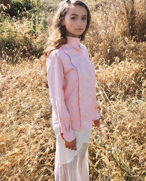 VINTAGE Christian Dior Pink Long Sleeve Button-Up Top - Bear Fox Babe
