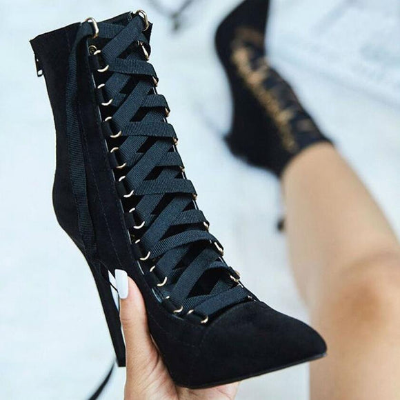 Suede Gladiator Stiletto Booties