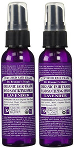 Dr. Bronner's Organic Lavender Hand Sanitizer 2 Pack - (2 oz. Travel Safe Bundle)