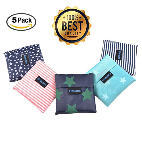 Folding Reusable Grocery Bags 5 Pack - 21.6