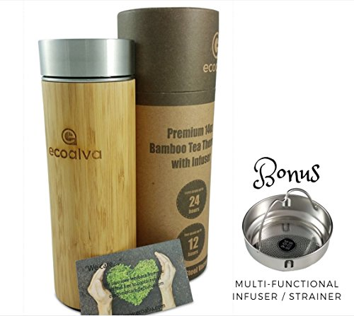 ecoalva Bamboo Stainless Steel Tea Thermos Water Bottle, Double Wall Vacuum Insulated Tumbler, Infuser and Strainer Coffee Travel Mug, Brewing Loose Leaf, Fruit Infused Water, BPA Free, 14 oz.