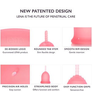 LENA Menstrual Cup - Made in USA - Tampon and Pad Alternative - Feminine Hygiene Protection - Small - Pink