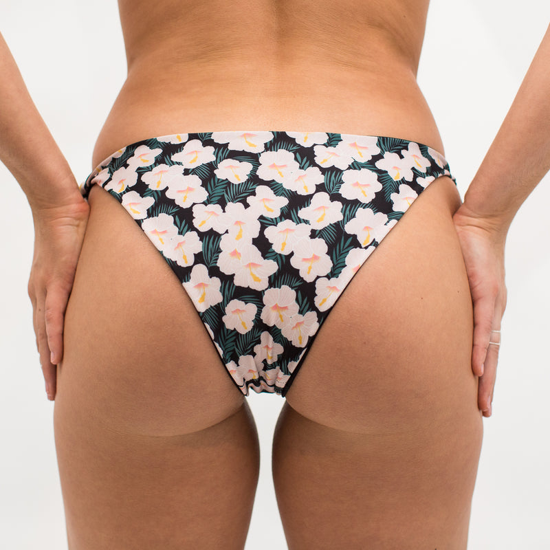 Kailua Bikini Bottom - Reversible Wild Hibiscus and Midnight