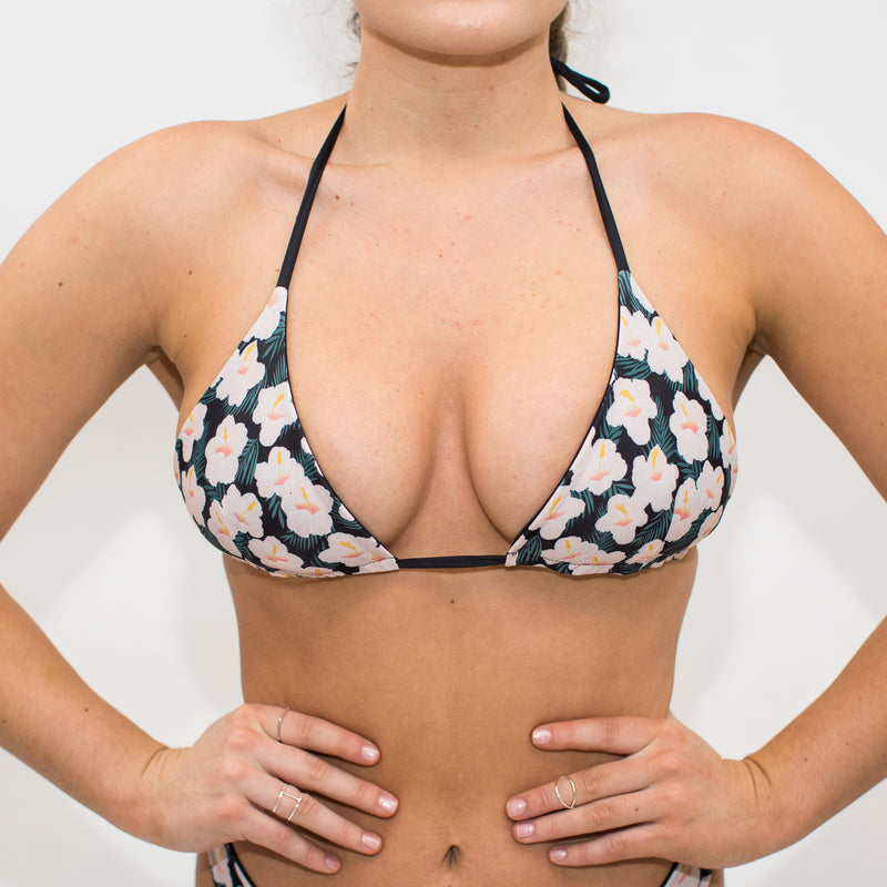 recycled triangle string bikini top black and floral