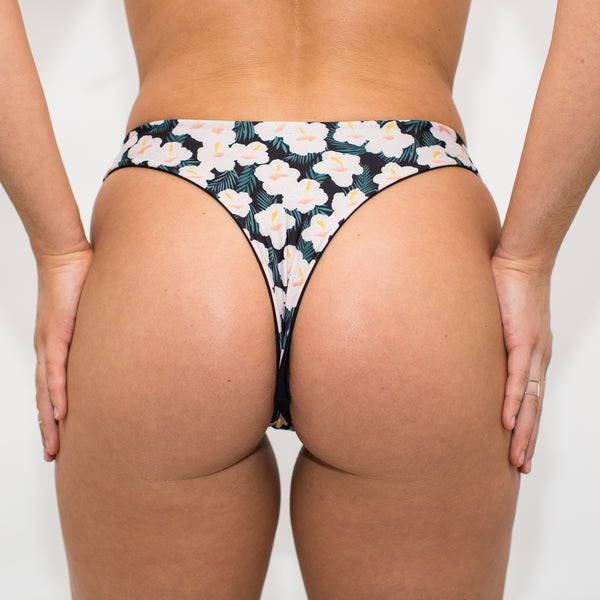Cheeky floral and black thong bikini bottom