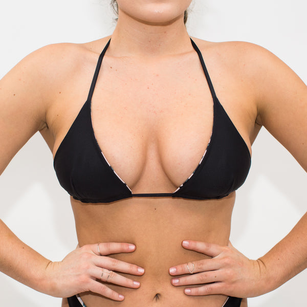 Simple black tie string swimsuit top