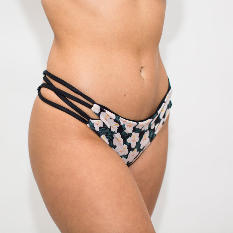 Side angle of floral swim bottoms