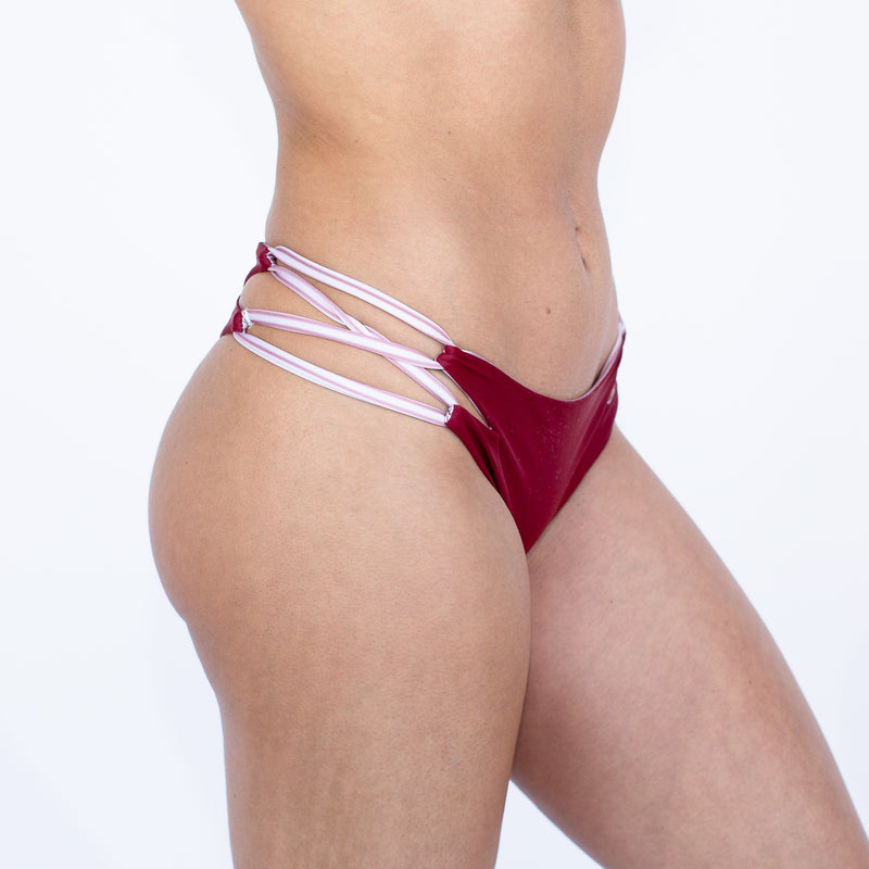 El Nido Bikini Bottom - Reversible Pacific Stripe and Sangria