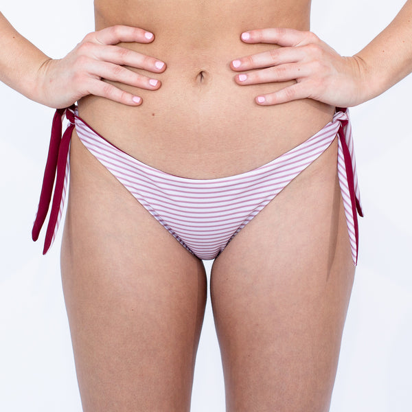 Kailua Bikini Bottoms - Reversible Pacific Stripe and Sangria