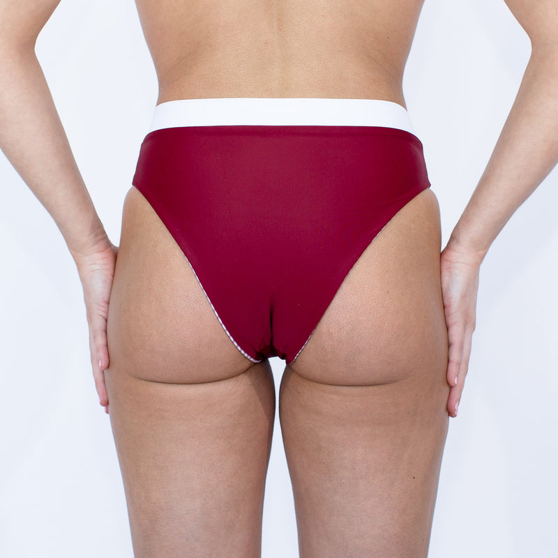 Laguna High Waisted Bottom - Reversible Pacific Stripe and Sangria