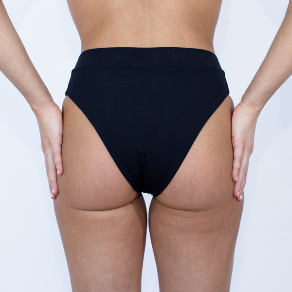 Laguna High Waisted Bottom - Black Rib