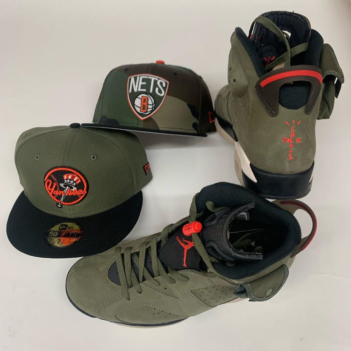 Military Green Yankee Fitted Hat with Matching Jordans 🔥