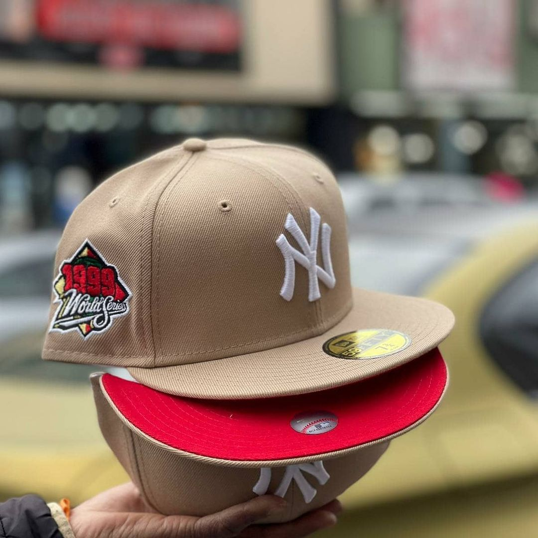 Toffe Cream yankees Fitted With Red Bottom