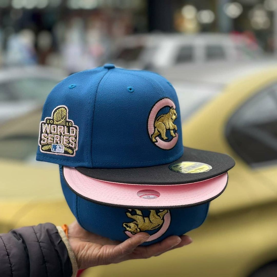 Blue Chicago Cubs Fitted With Pink Bottom Undervisor