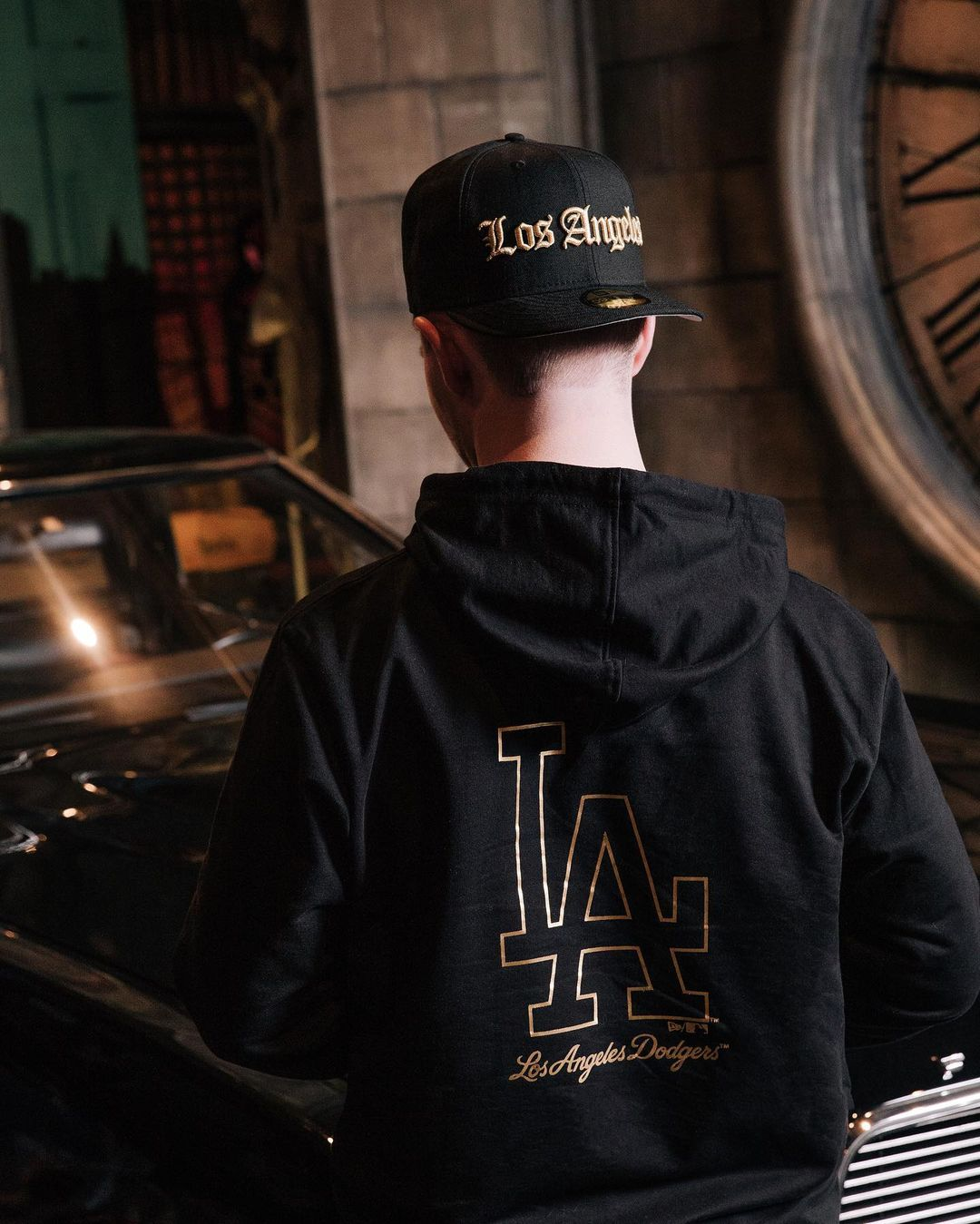 Black & Gold Fitted Hats Fam Cap Store