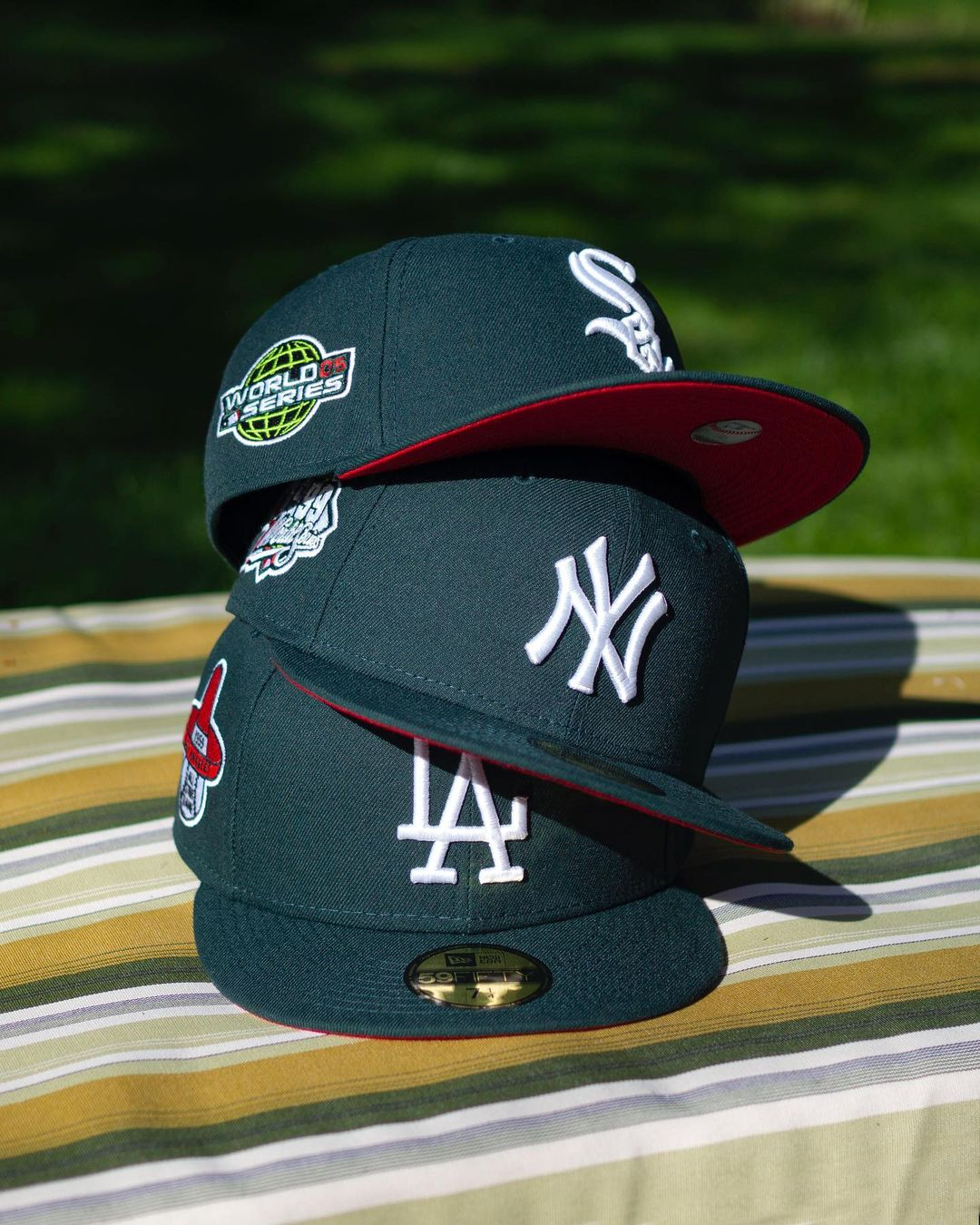 Fam Cap Green & Red Fitted Hat
