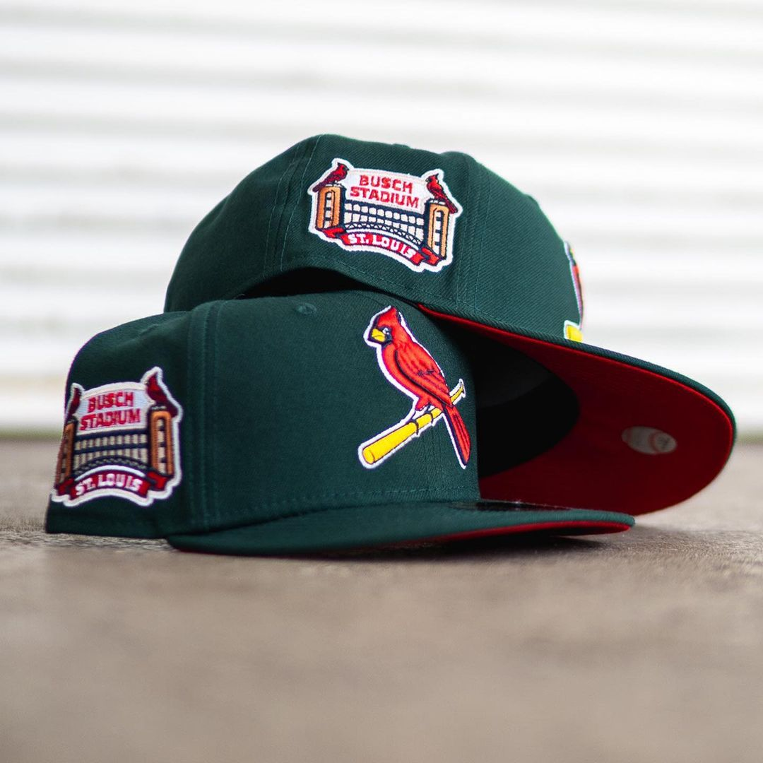 Forest Green & Red St. Louis Cardinals  Busch Stadium Patch Fitted Hat