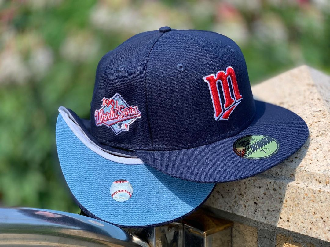 Navy Blue, Red & Sky Blue Fitted Hat