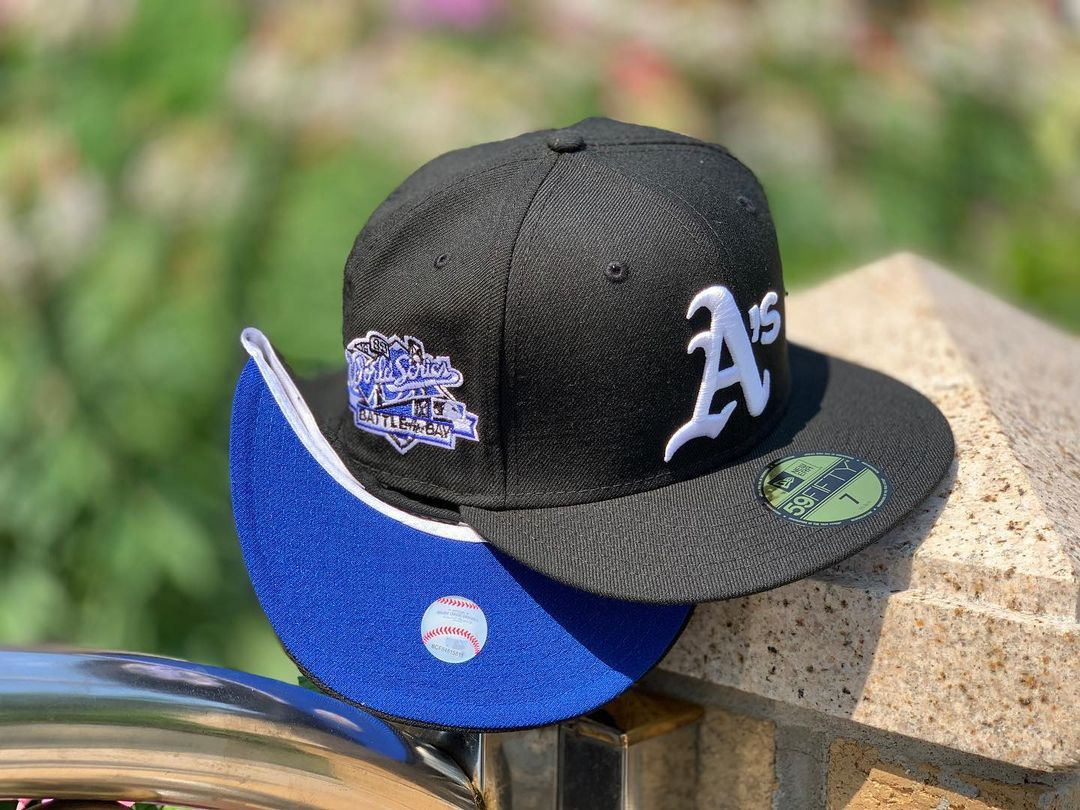 Black A's Fitted Hat Blue Undervisor