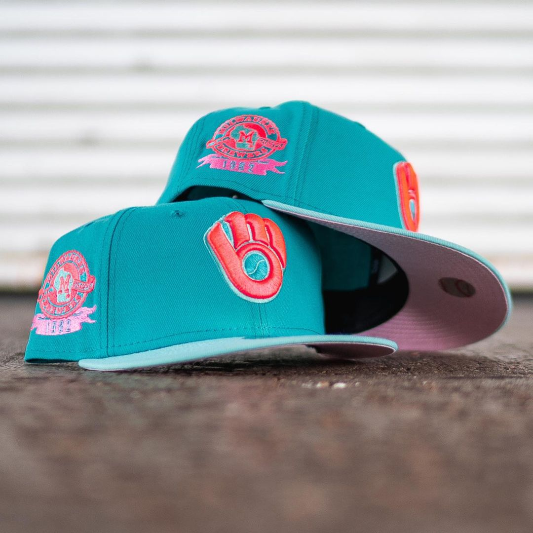 Milwaukee Brewers Teal & Pink 1982 Fitted Hat