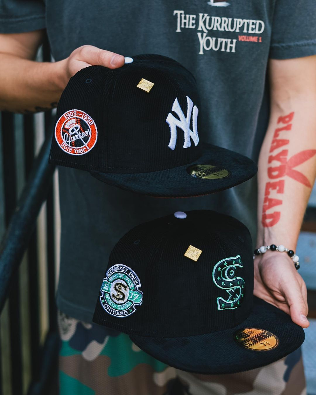 Black Corduroy Fitted Hats