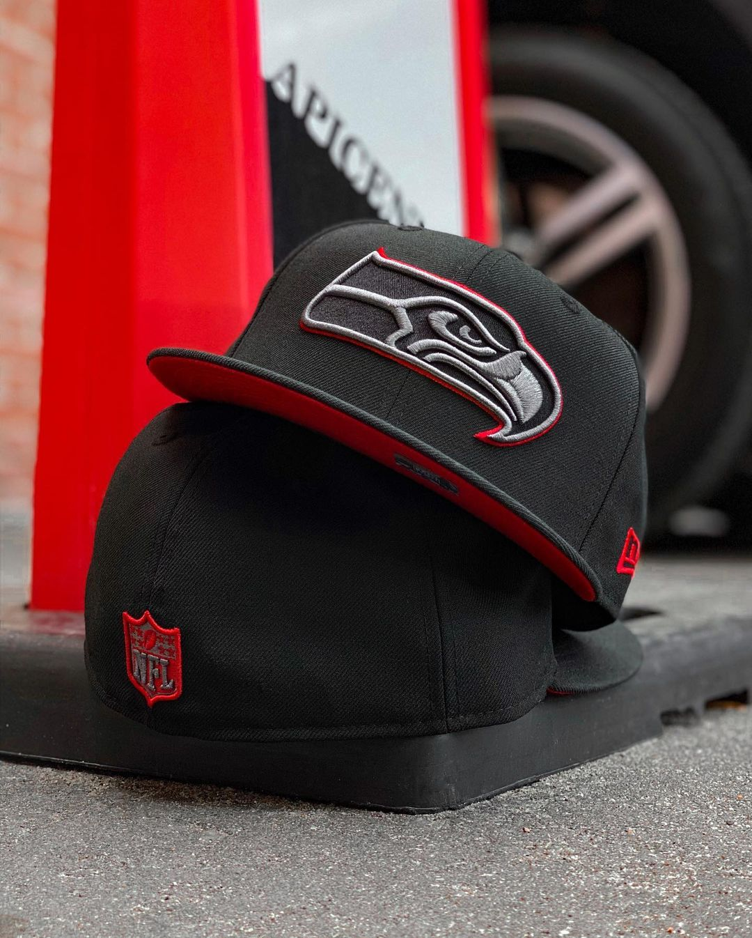 Black and Red Seahawks and Raiders Fitted Hats