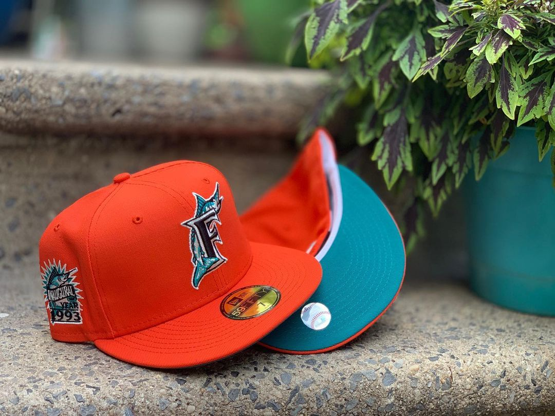 Tangerine Orange Fitted Hats With Turquoise Under Brim