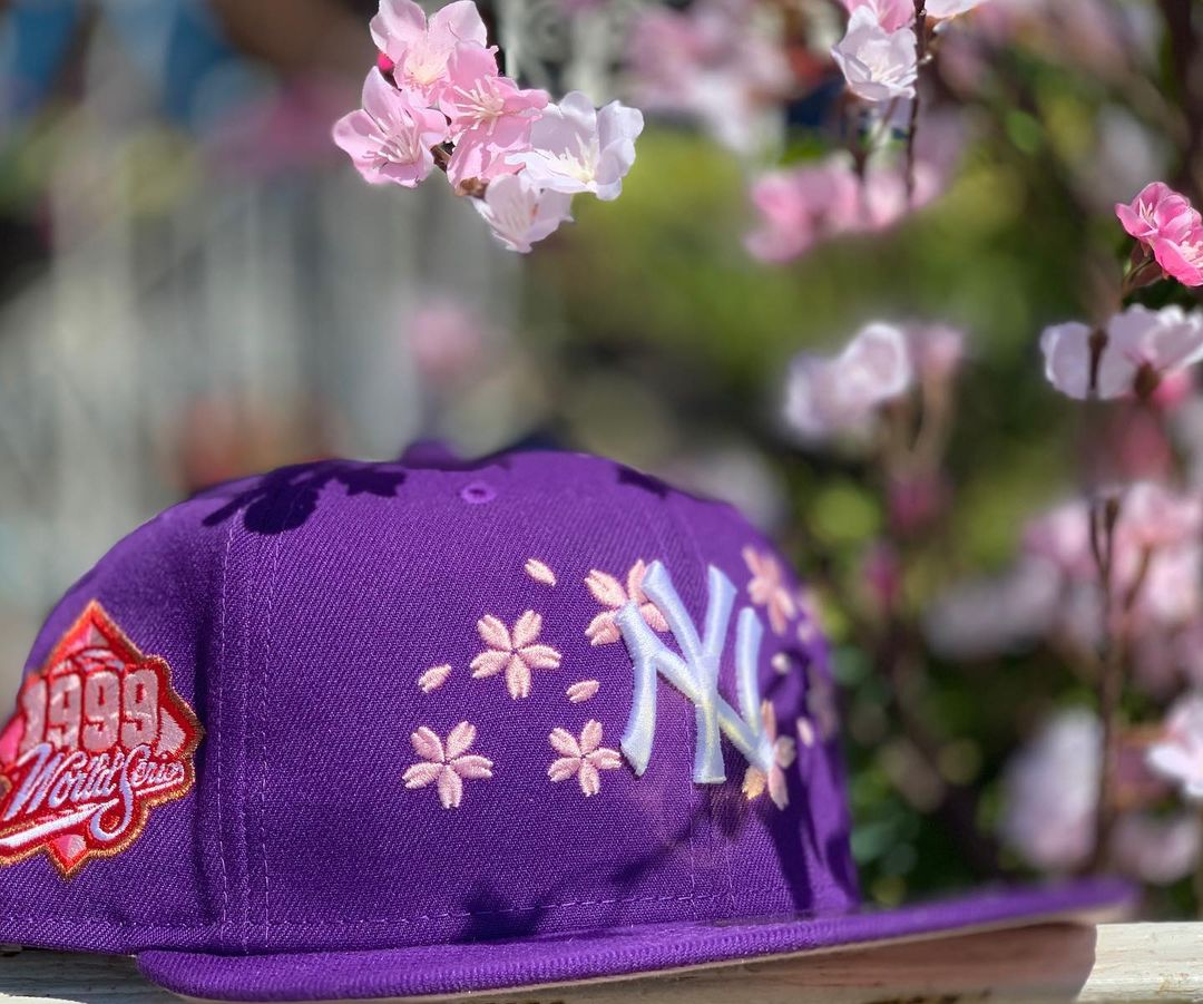 Purple Yankees Cherry Blossom fitted hat
