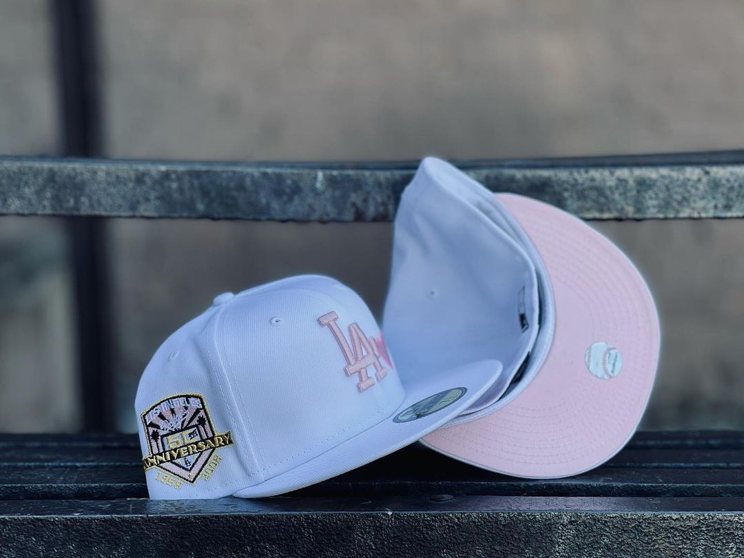 Los Angeles Dodgers White Pink Fitted Hat